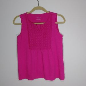 Talbots Pink Sleeveless Top Crochet Front Panel